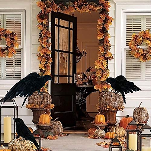 Party Diy Decorations - 3 Pcs Set Halloween Realistic Handmade Crow Prop Black Feathered Fly And Stand Crows Ravens - Chocolate Crow Reaper Prop Raven Indians Asus Tankard Grim Live ()