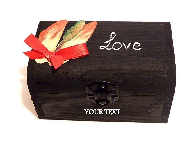 Joyero Grabado Nombres y Fecha, Cofre del Amor, Cajas de madera, Regalo secreto