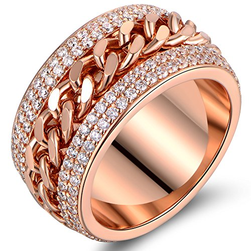 (Barzel Rose Gold, White Gold or Rose Gold Plated & Swarovski Elements Braid Statement Ring (Rose Gold, 10))