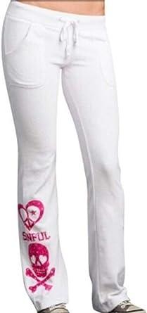 Sinful AFFLICTION Women/'s Sweatpants LUNAR Pant White Pink Skull Wings Biker $78