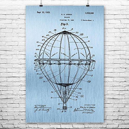 Patent Earth Hot Air Balloon Poster Print, Aviation Gift, Balloon Basket, Air Balloon Pilot, Flight School, Vintage Aircraft Blue Steel (8