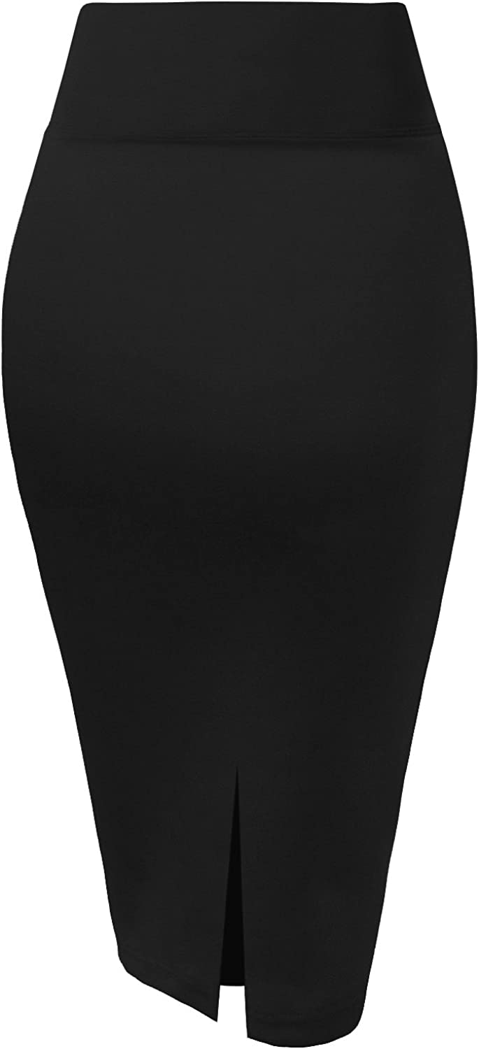 H&C Womens Premium Nylon Ponte Stretch Office Pencil Skirt Made Below Knee at  Women's Clothing store