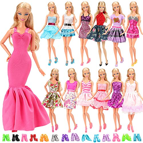 Barwa 15 Items = 5pcs Fashion Mini Dress Handmade Short Party Gown Clothes + 10 Pairs of Shoes for 11.5 inch Girl Doll
