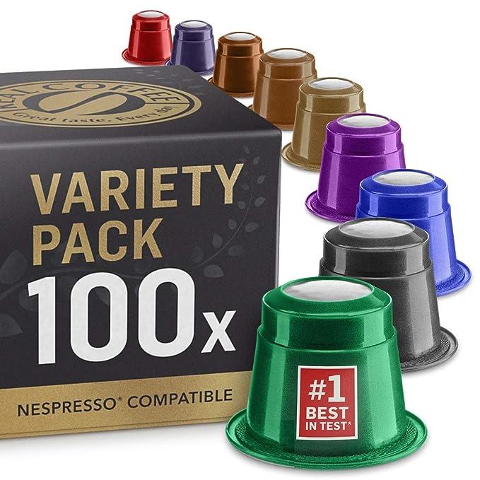 Paquete de variedades: 100 Nespresso cápsulas de café compatibles ...