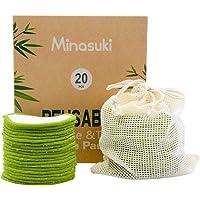 Minasuki 20 Pack Organic Reusable Makeup Remover Pads - Bamboo Reusable Cotton Rounds for Toner, Washable Eco-Friendly…