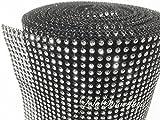 LolaSaturdays 4.5''x 30FT Diamond Rhinestone Ribbon Wrap Roll- Cake and party decoration (Diamond, Silver/Black)