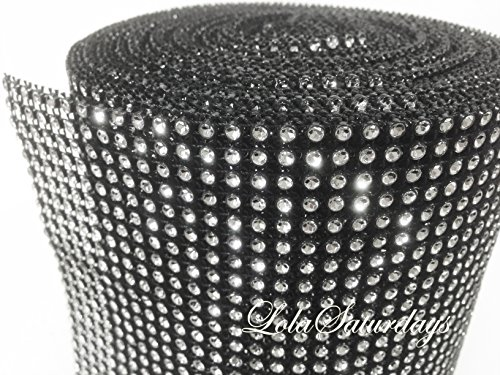 LolaSaturdays 4.5''x 30FT Diamond Rhinestone Ribbon Wrap Roll- Cake and party decoration (Diamond, Silver/Black) by LolaSaturdays