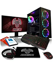 ADMI Gaming PC Package: Ryzen 2300X 4.0Ghz Quad Core / 8GB Ram/GTX 1050Ti 4GB with 24 Inch LED Monitor, 7 Colour Illuminated Keyboard, Mouse, Mat & Headset 300mbps Wifi