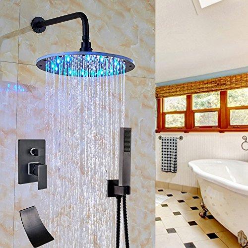 "best Votamuta LED Colors 12"" Rainfall Shower Faucet Set Bathroom 3 Ways Shower Mixer Tap 1 Handle Waterfall Tub Spout with Handheld Spray Head"