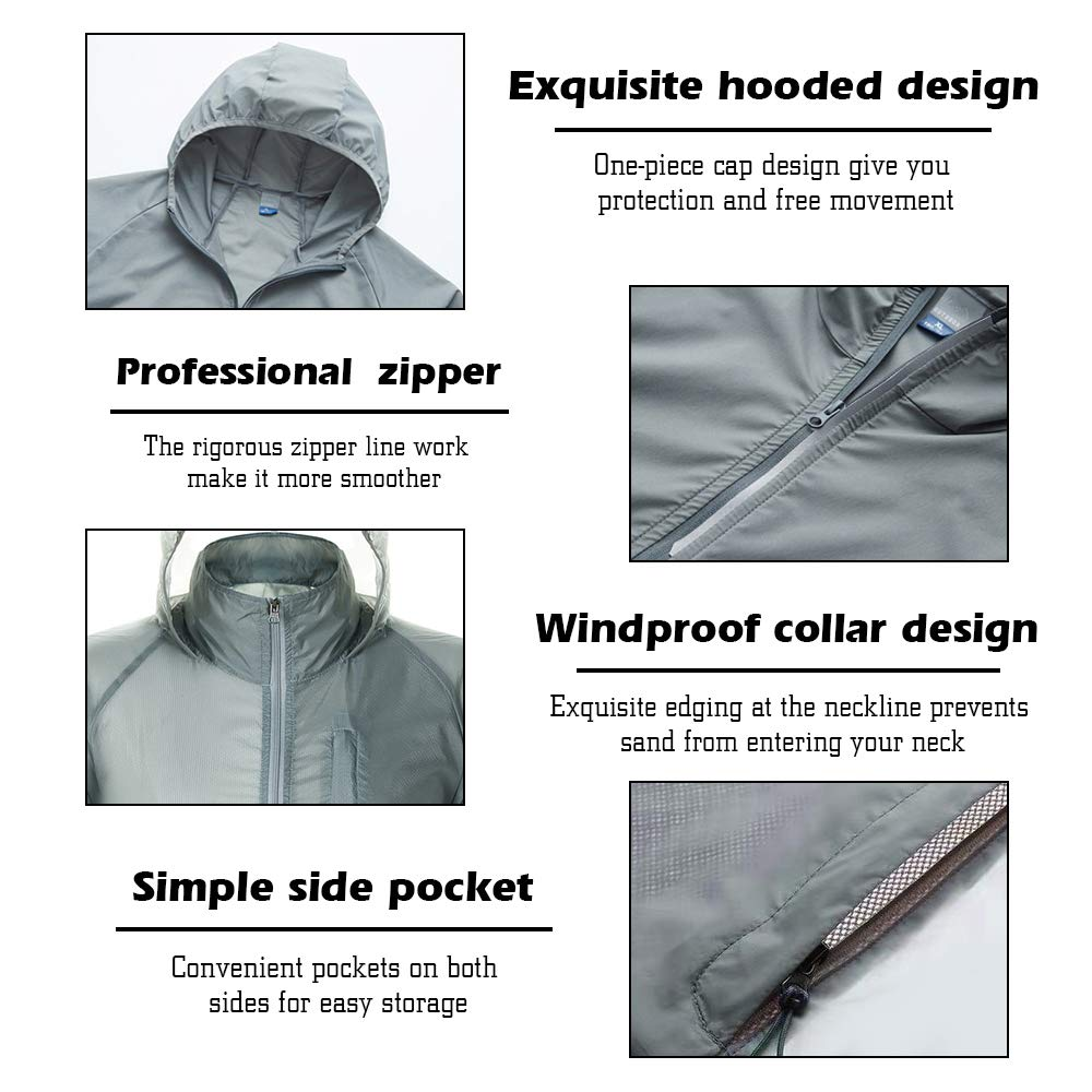 Pervobs Mens Lightweight Windbreaker Jacket Packable Outdoor Hooded Loose Full Zipper Pockets Coat Outerwear
