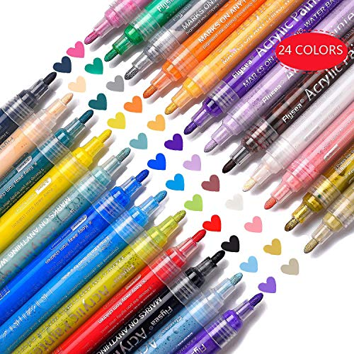 Paint Pens for Rocks Painting Acrylic Paint Markers Pens for Glass Painting, Ceramic, Wood, Metal, Easter Egg, DIY Craft Projects with Sun & Water Resistant Function, Set of 24 Colors