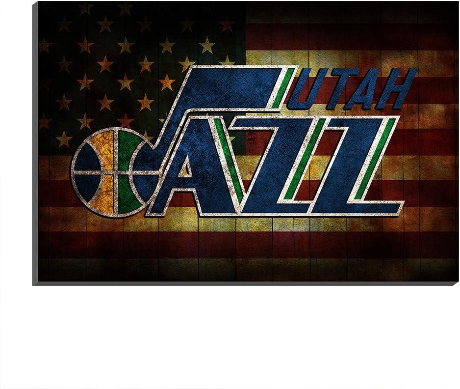 009 Mall 1 PCS NBA Utah Jazz Art Prints Poster Home Decor Oil Painting Wall Printing Wall Decor Poster Gift (Frame-Ready to Hang,40x60cm)