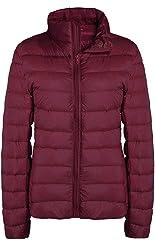 ZSHOW Women's Outwear Down Coat Lightweight Packable Powder Pillow Down Jacket, US X-Small, Wine Red
