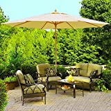 13ft Feet German Beech Wood Wooden Outdoor Patio Umbrella Beach Yard Garden Wedding - Beige