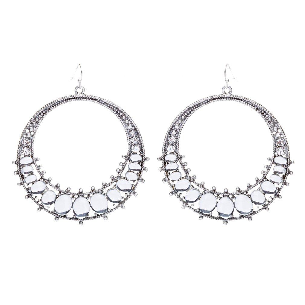 Beautiful Dazzling Crystal Rhinestone Open Circle Dangle Fashion Earrings Silver