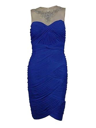Adrianna Papell Womens Embellished Illusion Ruched Chiffon Dress