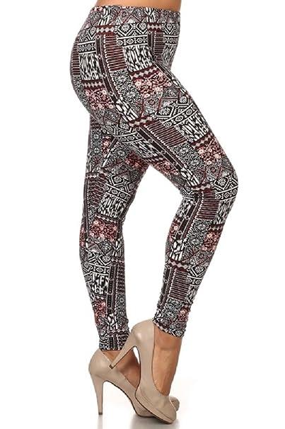 f467e988b48 Leggings4U Elegant4U Junior Plus Size New Trendy Aztec Temple Art Tribal Printed  Legging at Amazon Women s Clothing store