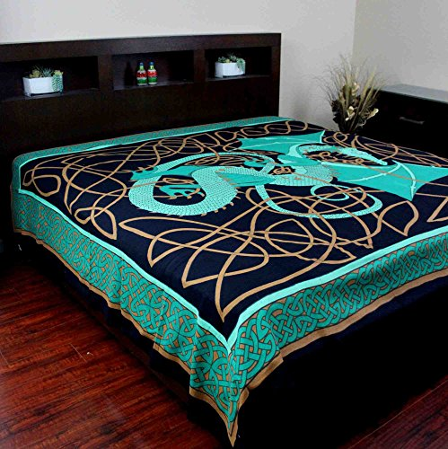 Handmade 100% Cotton Celtic Dragon Tapestry Bedspread Bed Sheet Beach Sheet Dorm Essential Tablecloth Spread 70x104 Twin Green Dragon Sheets