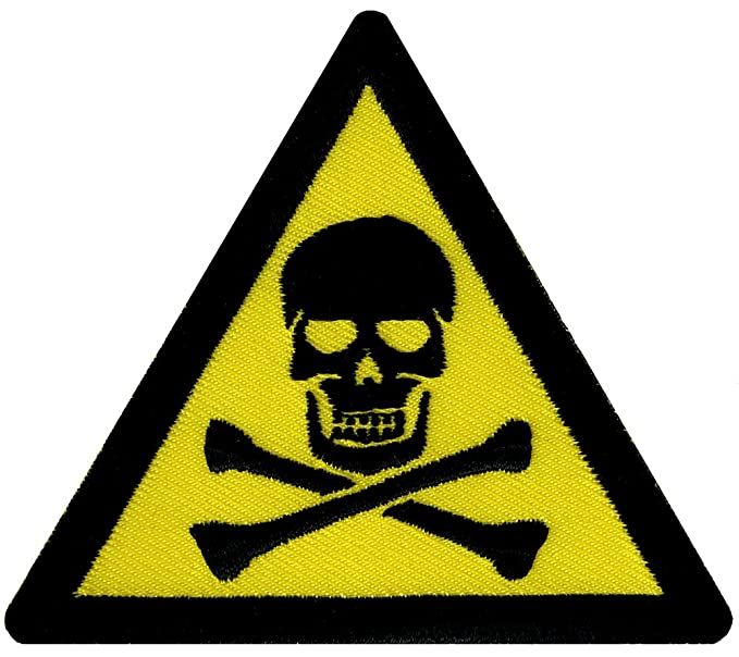 Amazon Poison Sign Embroidered Patch Skull Warning Sign Iron On