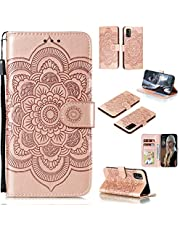 Cfrau Wallet Case with Black Stylus for Samsung Galaxy A41,Beautiful Mandala Sunflower Embossed PU Leather Magnetic Flip Stand Soft Silicone Card Slots Case with Wrist Strap - Rose Gold