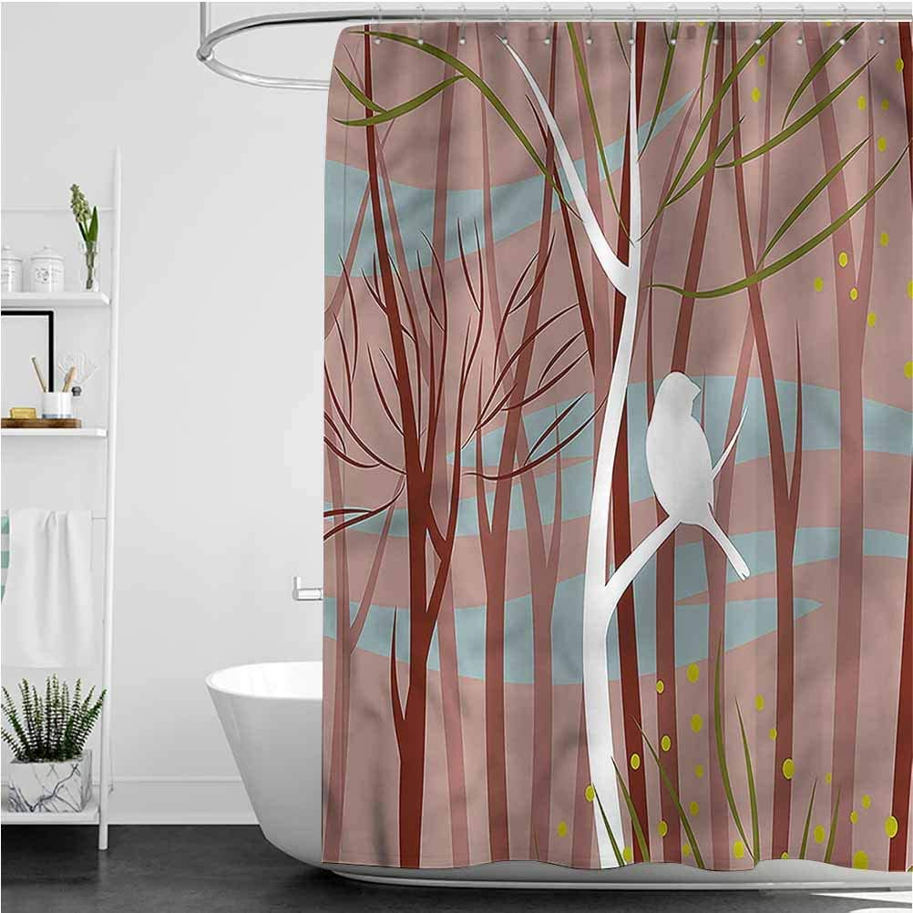 Interestlee Forest Long Shower Curtain Bird on Leafless Branch Modern Home Bathroom Decor, 60 x 72 Inch