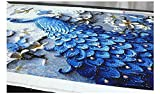 5D Diamond Painting Full Drill – Royal Azure Peacock (Fun Unique Art Décor Makes A Perfect Birthday Party Gift)(Beautiful Artwork Tapestry Decoration for Home Or School) Premium Canvas Po