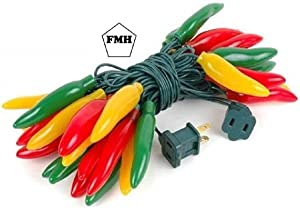 FMH - Multi-color Chili Pepper String Lights, 35 bulbs, 14.5 Feet Long, 22 Gauge Green Wire 120 V, Constantly Lit or Intermittent Flashing - Indoor/Outdoor - Furnish My Homestead (trademarked product)