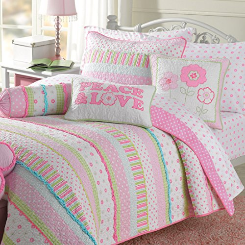 Cover Newport Set Duvet (Newport Home Gracie Girls Quilt Set - Pastel Stripes White Lime Green Pink Alternating Rows of Flowers Polka Dots Plaid Checks Accented with Aqua Blue Micro Ruffles 2pc - Twin)