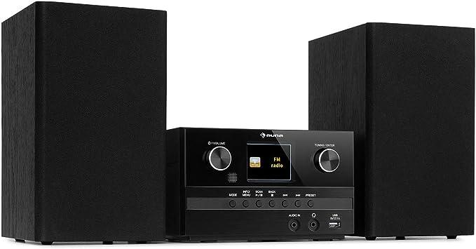 Auna Connect System S - Equipo de música, 2 Altavoces estéreo, Radio por Internet/Dab+/FM, Reproductor de CD, Puerto USB, Compatible con MP3, ...