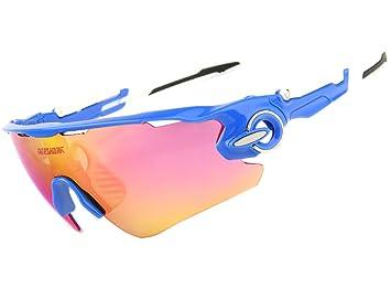 Queshark Voll Revoed Polarisiert 3 Austauschbarem Bbjektiv für Männer Frauen Mit Sonnenbrillen Sport Radsport Brillen (Weiße Rot) Cs2ahxraq