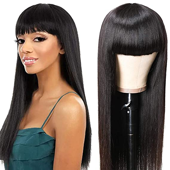 Unice Glueless Straight Human Hair Wigs With Bangs Mongolian Virgin Hair Full Machine Made None Lace Front Wigs For Black Women 150 Density 18inch Beauty Amazon Com