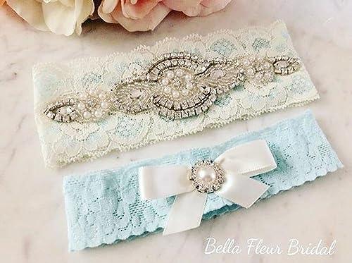 Amazon Com Vintage Wedding Garter Set Blue Bridal Garter Rhinestone Garter Handmade