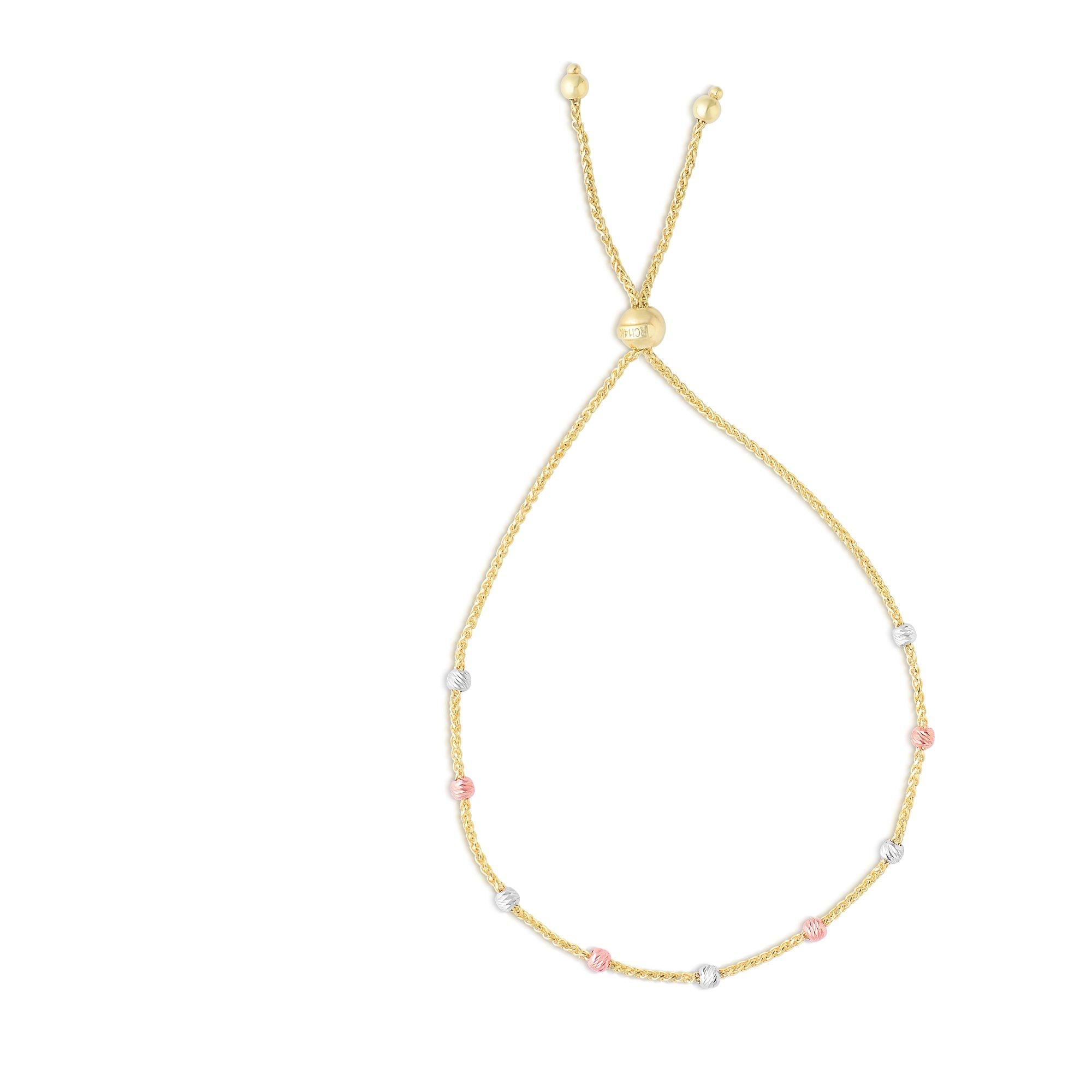 Luxurman Friendship 14K Tri-Color Gold Diamond Cut Round Station Bead Yellow Round Wheat Chain Bracelet