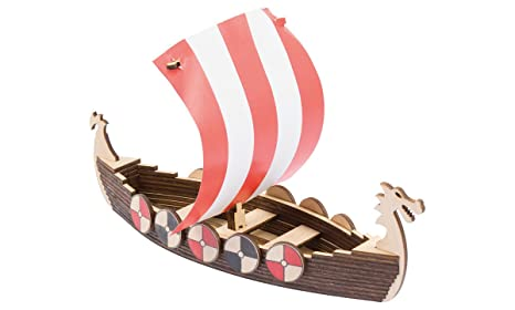 Woodwars Viking Boat Wooden Miniature Tabletop Desktop Warfare Kit Easy Assembly And Reliable Performance With Detailed Full Color Instruction