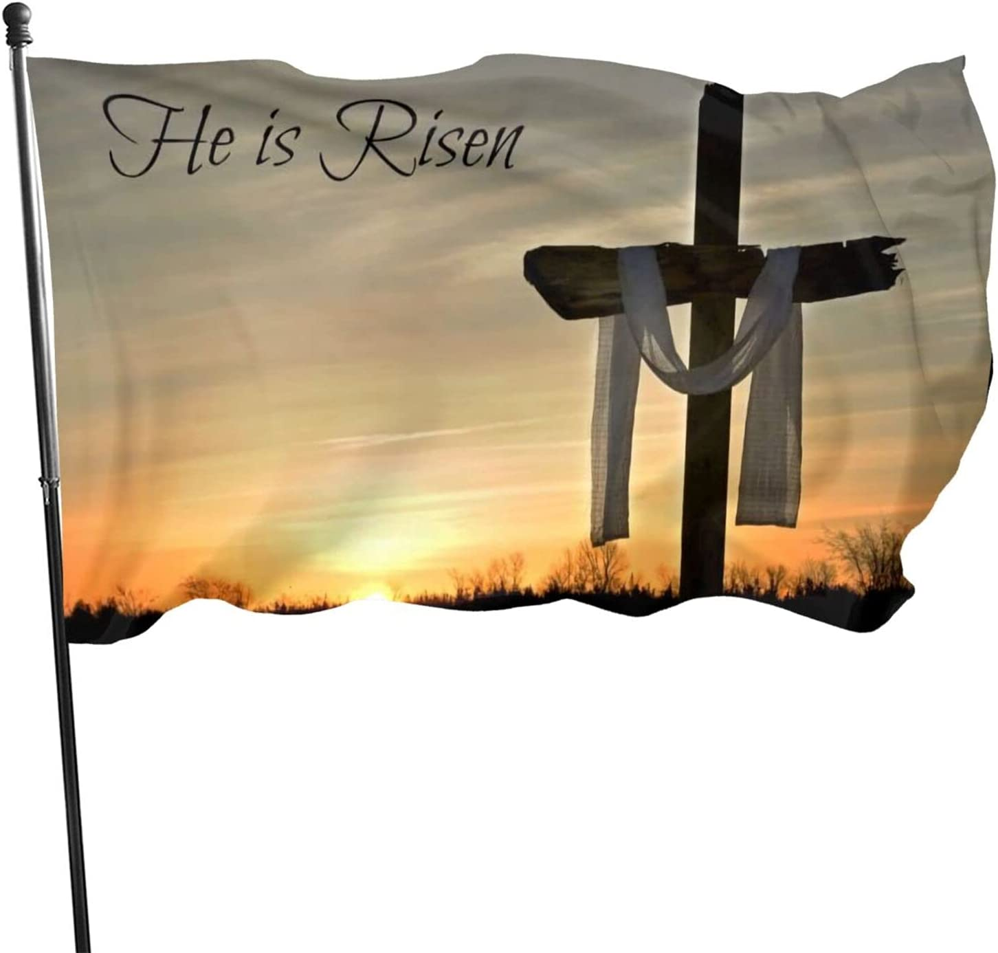 CELILIN Jesus Christ He is Risen Christian Flag 3' X 5' Indoor Outdoor Banner Home Garden Decoration