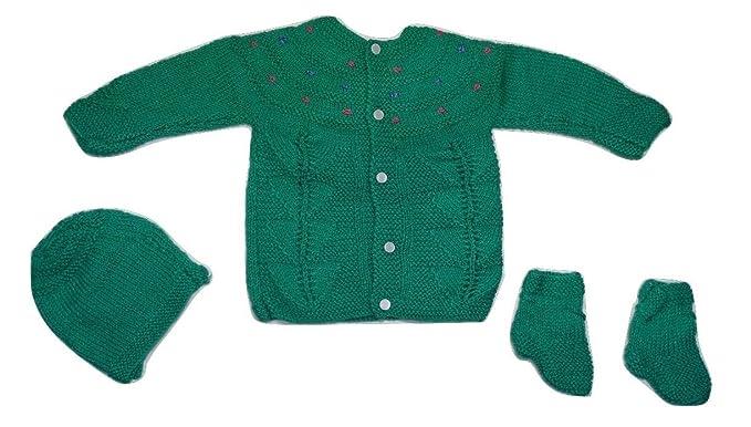 CutiePie Collections Handmade Woolen Green Sweater with Cap