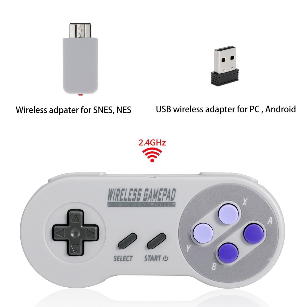 Controller wireless per super NES Classic Edition & NES Classic Edition, Honwally 2.4  GHz USB Game Pad per PC, Raspberry Pi (OS, Windows, Linux, Android) doppio adattatore wireless Honwally 2.4 GHz USB Game Pad per PC