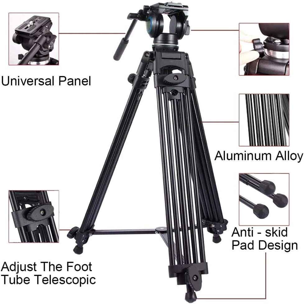 Color : Black, Size : One Size Teerwere Phone Tripod Heavy Duty Aluminum Alloy Tripod for DSLR SLR Camera Video Camcorder for Camera Phone Tripod with Remote