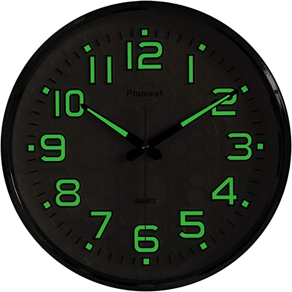 Amazon Com Plumeet Night Light Wall Clocks 13 Inches Clock With Silent Non Ticking Glowing Function Great For Home Kitchen Bedroom Large Number Battery Operated Green Light Kitchen Dining