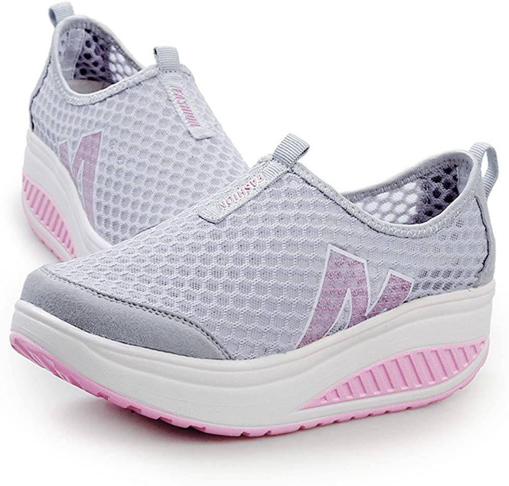 Toimothcn Women Thick Bottom Platform Sport Shoes Loafers Breathable Air Mesh Swing Wedges Shoe