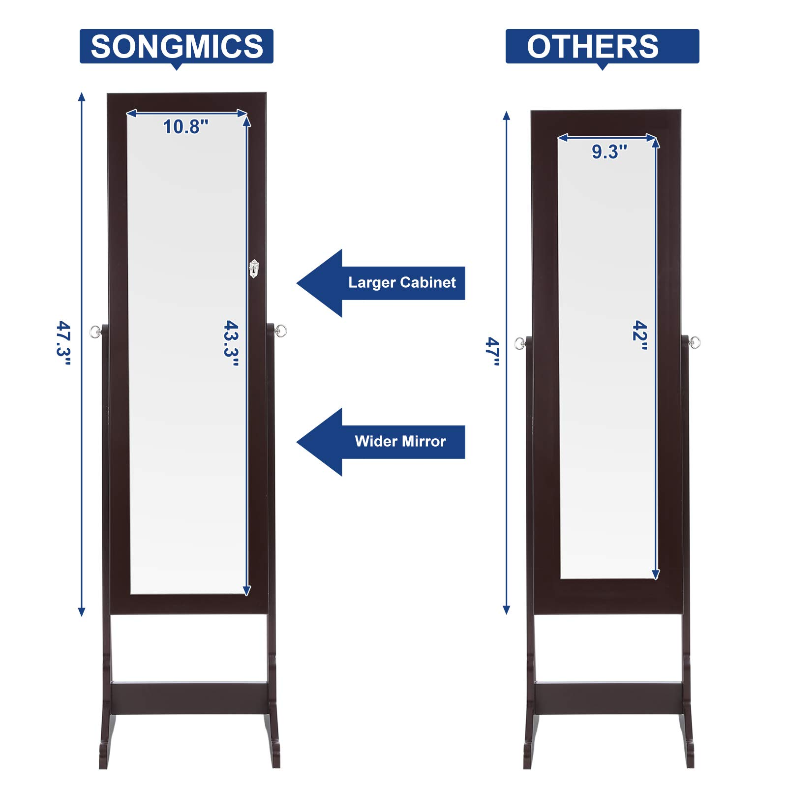 SONGMICS 6 LEDs Mirror Jewelry Cabinet Lockable Standing Mirrored Jewelry Armoire Organizer 2 Drawers Brown Mother's Day Gift UJJC94K by SONGMICS (Image #5)