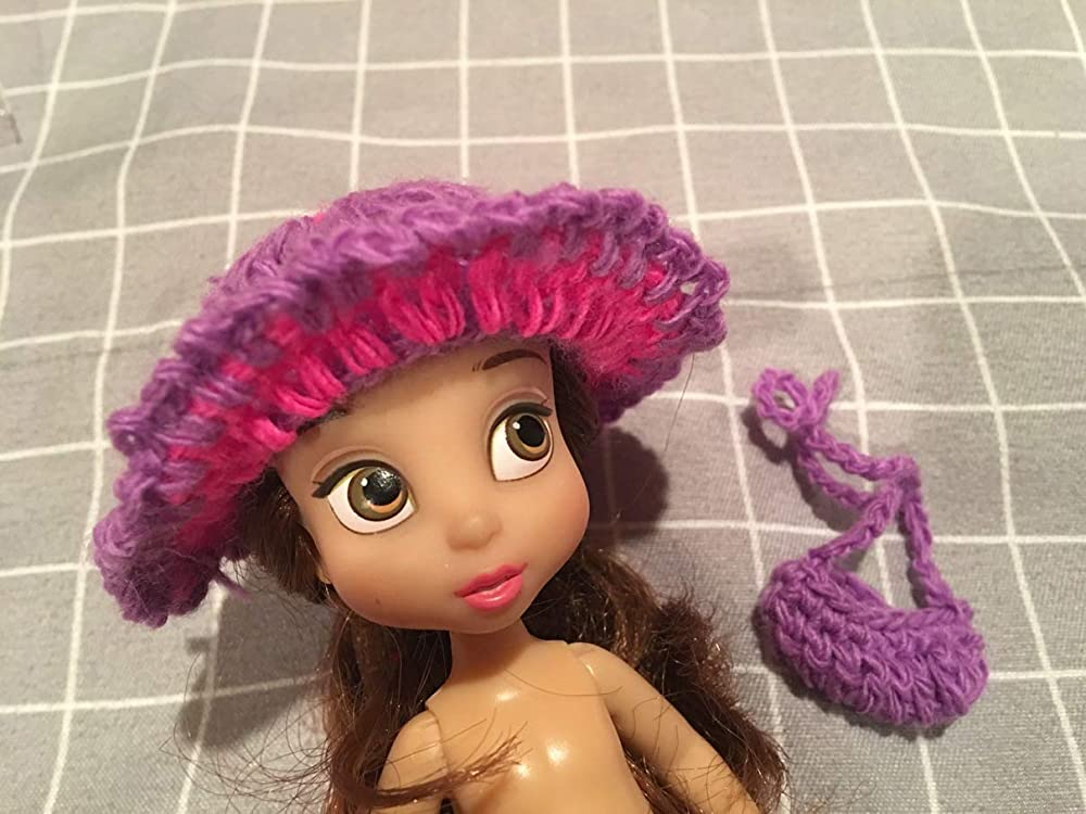 5 MINI Disney Animators Handmade NO DOLL Crocheted Hat and Purse Accessories Clothes Fits Mini 6.5 American Girl Doll