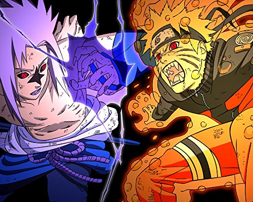 Naruto Vs Sasuke Poster Japanese Anime Manga Wall Art Print Decor 16x20 Inches High Quality Print