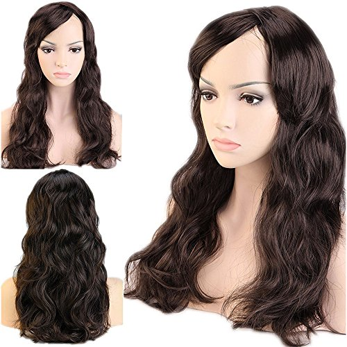 """Cheap Dancing Party Wig Cosplay Wigs Synthetic Long Curly Straight Full Costume Wig with Bangs and Cap Halloween Wigs for Women Men Girl Boy Teens (19"""" Curly, Dark Brown)"""