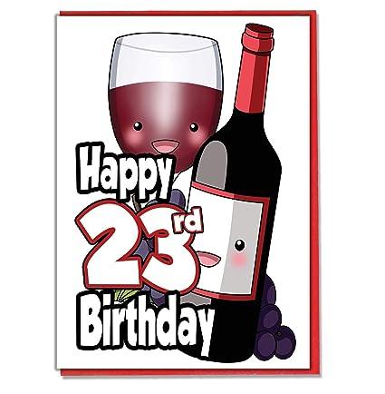 Copa de vino rojo y botella - Tarjeta de cumpleaños 23 ...