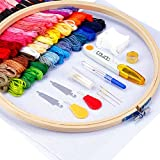 Caydo Full Range of Embroidery Starter Kit Including 5 Pieces Bamboo Embroidery Hoops, 50 Color Threads, 2 Pieces 12 by 18-Inch 14 Count Classic Reserve Aida and Cross Stitch Tool Kit