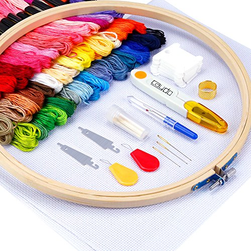 Caydo Full Range of Embroidery Starter Kit Including Instructions, 5 Pieces Bamboo Embroidery Hoops,...