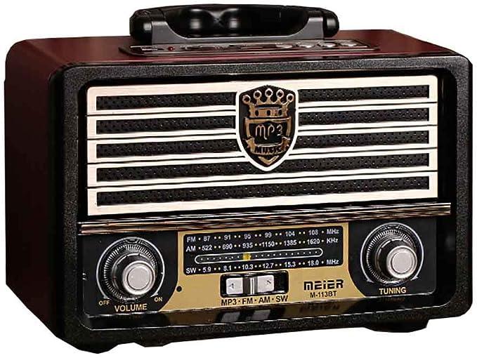 Radio Retro De Madera, Radio Am SW FM, Altavoz Inalámbrico Bluetooth 4.0, con Estilo Antiguo, Bajos Fuertes, Mini Audio Al Aire Libre Volumen Alto,B