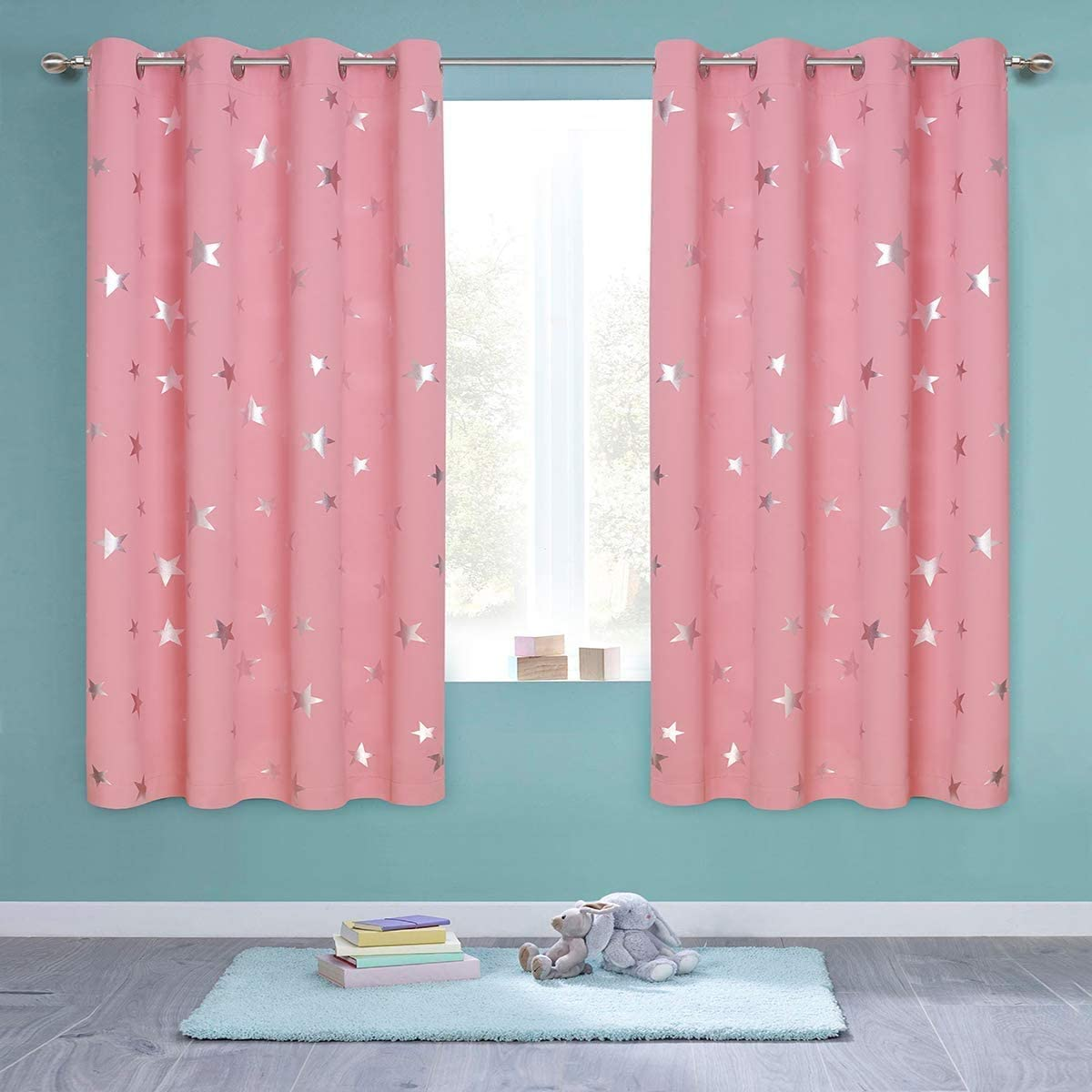 Anjee Pink Blackout Curtains for Girls Bedroom 54 Inches Length Stars Window Drapes Silver Foil Printed Room Darkening Panels Grommet Thermal Insulated Drapery Nursery Decor, Baby Pink 38x54 Inches