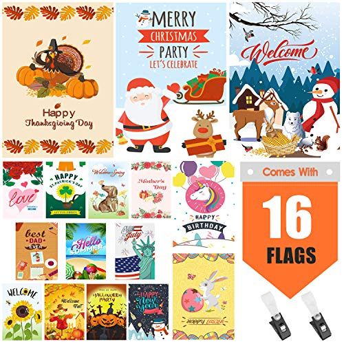 Initial Garden Flags (Warmfits Garden Flags, Set of 16 Premium Quality Yard Holiday and Seasonal Decorative Flags Small Garden Outdoor Decorative Flags - Double Sided Colorful Design for All Seasons & Holidays- 12)